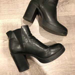 Forever 21 faux black leather ankle platform boots